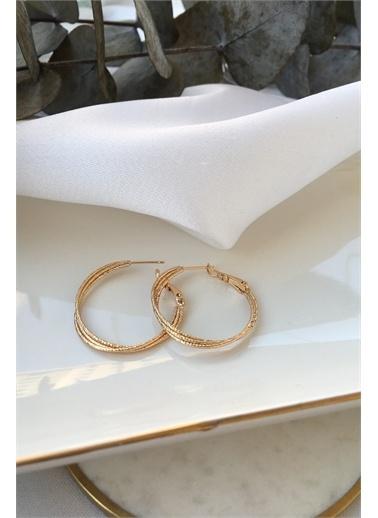 My Joyas Design My Joyas Design İnce Parıltılı Sarmal  Kadın Halka Küpe Altın